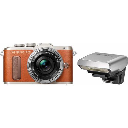 Olympus »E-PL8« Systemkamera (14-42mm EZ Pancake, 16,1 MP, WLAN (Wi-Fi), Makroaufnahme, HDR-Aufnahme, 3D, Gesichtserkennung), braun
