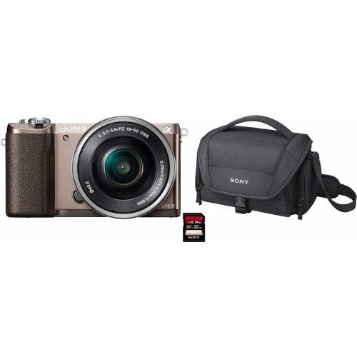 Sony »Alpha ILCE-5100L« Systemkamera (24,3 MP, NFC, WLAN (Wi-Fi), inkl. 16-50mm Objektiv), braun