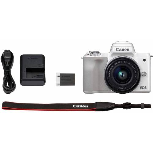 Canon »EOS-M50 EF-M15-45 Kit« Systemkamera (EF-M 15-45, 24,1 MP, NFC, WLAN (Wi-Fi), Bluetooth, + Rucksack CB-BP100 + 32GB SD Class 10 + 10 € FGS), weiß