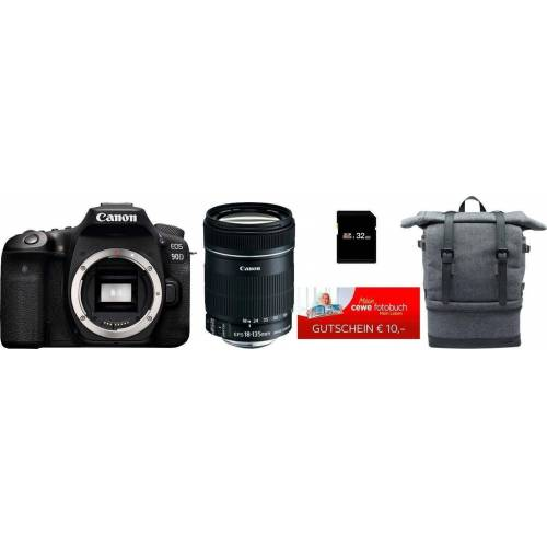 Canon »EOS 90D« Spiegelreflexkamera (EF-S 18-135mm f/3.5-5.6 IS, 32,5 MP, WLAN (Wi-Fi), Bluetooth, Rucksack + 32GB SD-Karte + 10€ FGS)