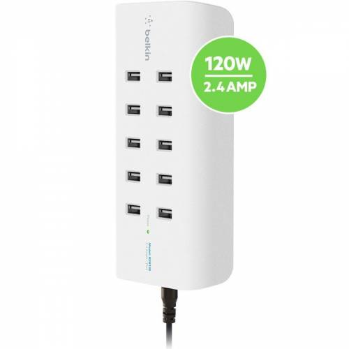 Belkin Lader »10-Port USB-Ladestation,120W, 2,4A pro Port«, Weiß