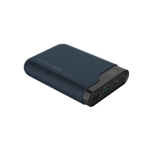 Realpower »PB-10000 PD 10.000 mAh Powerbank, schwarz, Quick Charge 3.0, USB-C Ladegerät / Ersatzakku für PD Notebooks« Powerbank