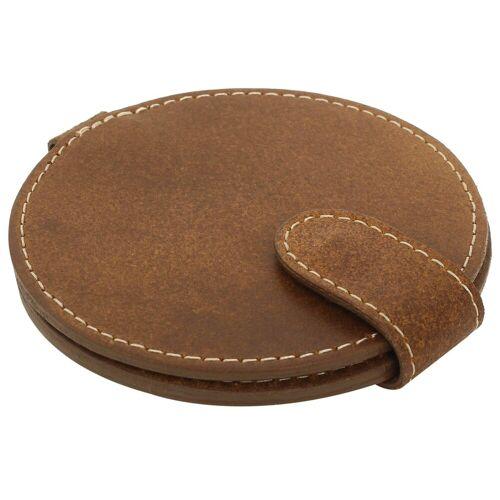 Gusti Leder Taschenspiegel »Talia«, Taschenspiegel Kosmetikspiegel Braun Leder, Braun