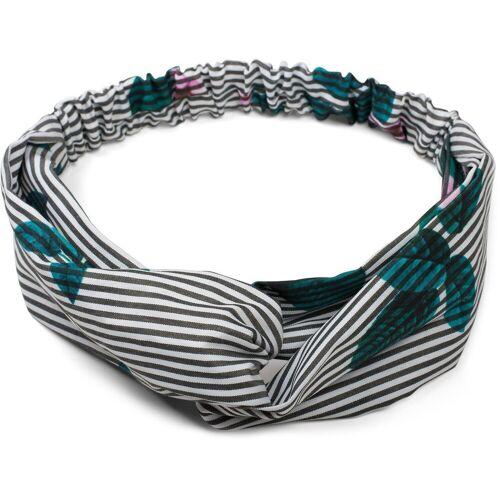 styleBREAKER Haarband »Streifen Haarband mit Twist Knoten und Blumen«, 1-tlg., Streifen Haarband mit Twist Knoten und Blumen, Schwarz-Weiß