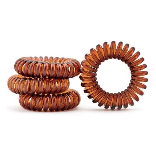 MyBeautyworld24 Spiral-Haargummi »Haargummi im Telefonkabel Design (Kunststoff-Spirale) in der Farbe braun«, 4er Set