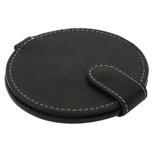 Gusti Leder Taschenspiegel »Talia«, Taschenspiegel Kosmetikspiegel Braun Leder, Schwarz