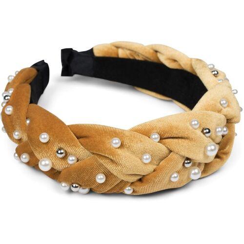 styleBREAKER Haarband »Haarreif Samt geflochten mit Perlen«, 1-tlg., Haarreif Samt geflochten mit Perlen, Camel