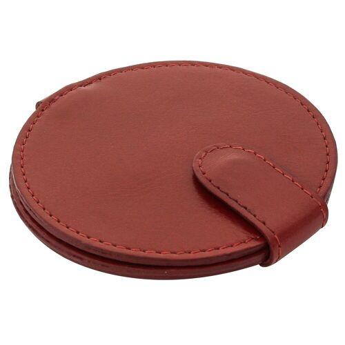 Gusti Leder Taschenspiegel »Talia«, Taschenspiegel Kosmetikspiegel Braun Leder, Rot