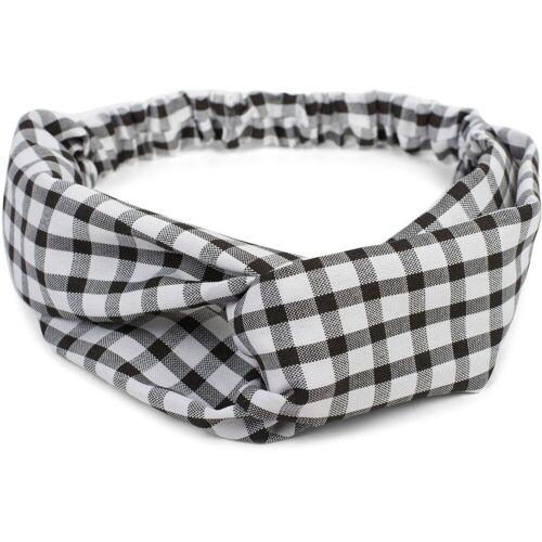 styleBREAKER Haarband »Haarband mit Karo Muster und Twist Knoten«, 1-tlg., Haarband mit Karo Muster und Twist Knoten, Schwarz-Weiß