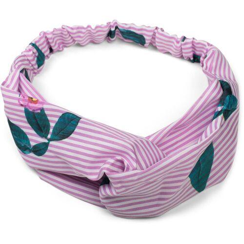 styleBREAKER Haarband »Streifen Haarband mit Twist Knoten und Blumen«, 1-tlg., Streifen Haarband mit Twist Knoten und Blumen, Rosa-Weiß