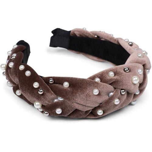 styleBREAKER Haarband »Haarreif Samt geflochten mit Perlen«, 1-tlg., Haarreif Samt geflochten mit Perlen, Braun