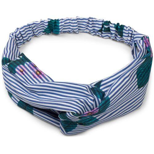 styleBREAKER Haarband »Streifen Haarband mit Twist Knoten und Blumen«, 1-tlg., Streifen Haarband mit Twist Knoten und Blumen, Blau-Weiß