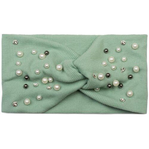 styleBREAKER Haarband »Feinripp Haarband mit Perlen und Strass«, 1-tlg., Feinripp Haarband mit Perlen und Strass, Mint