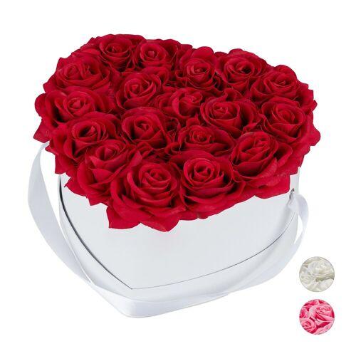relaxdays Papierblumen »Weiße Rosenbox Herz mit 18 Rosen«, Rot