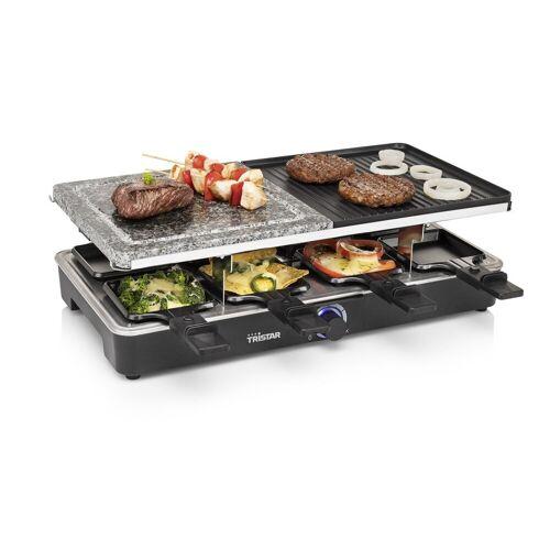 Tristar Raclette, 8 Raclettepfännchen, 1400 W, Modernes Raclette Gerät für 2-8 Personen, Tischgrill mit Steinplatte 1400 Watt, Steingrill, Raclet