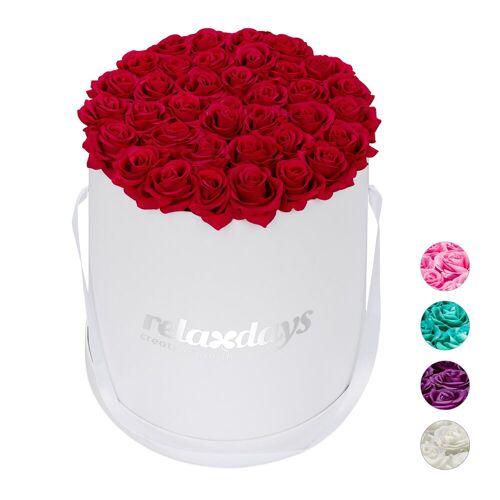 relaxdays Papierblumen »Weiße Rosenbox rund 34 Rosen«, Rot