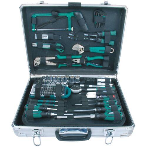 Brüder Mannesmann Werkzeuge BRUEDER MANNESMANN WERKZEUGE Werkzeugkoffer »Alu-Werkzeugkoffer«, Maße (B/H) 35x13,5 cm, 124-tlg., silberfarben