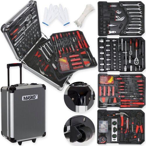 MASKO Werkzeugtrolley, 969 tlg Werkzeugkoffer Werkzeugkasten Werkzeugkiste Werkzeug Trolley Profi 949 Teile Qualitätswerkzeug, anthrazit
