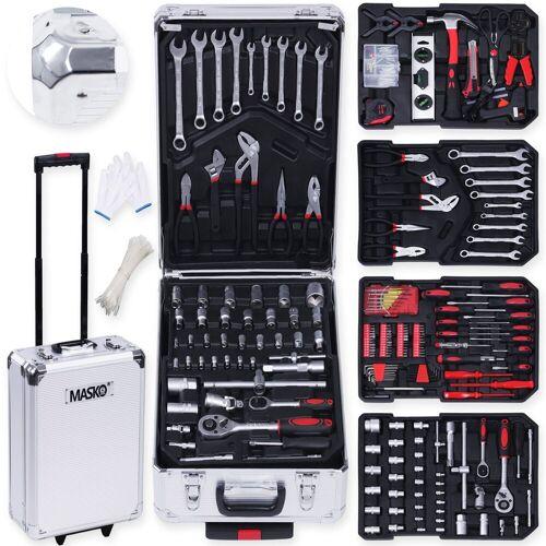 MASKO Werkzeugtrolley, 969 tlg Werkzeugkoffer Werkzeugkasten Werkzeugkiste Werkzeug Trolley Profi 949 Teile Qualitätswerkzeug, silber