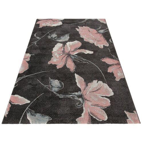 my home Teppich »Sofia«, , rechteckig, Höhe 13 mm, Blumen Design, grau