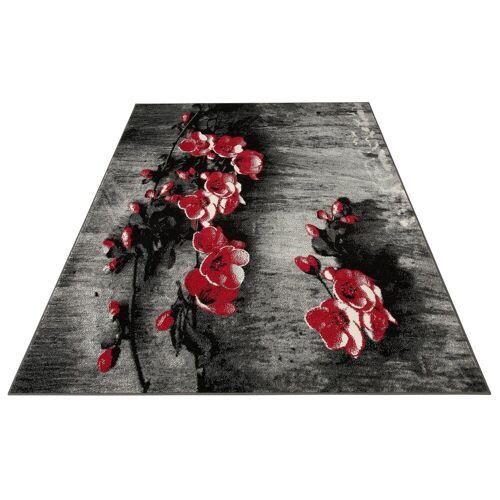 my home Teppich »Freya«, , rechteckig, Höhe 8 mm, mit Blumen Design, rot