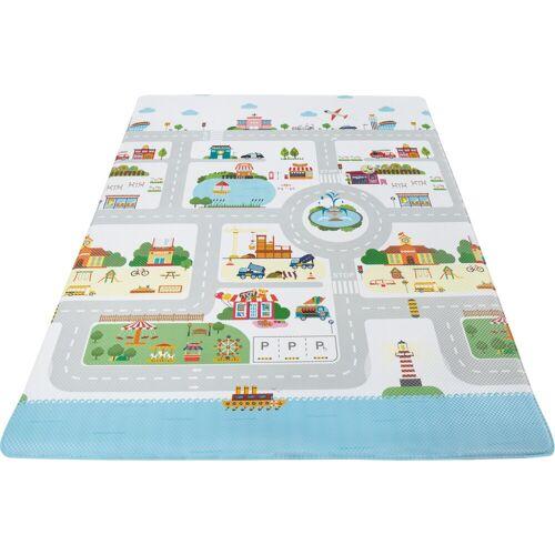 Andiamo Kinderteppich »Spielmatte«, , rechteckig, Höhe 8 mm, Straßen-Spielteppich, abwischbar, bunt-graublau