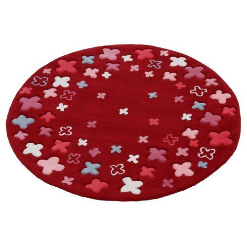 Esprit Kinderteppich »Bloom Field«, , rund, Höhe 10 mm, Blumen, Kurzflor, rot