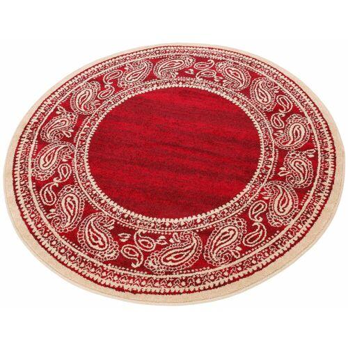 my home Teppich »Maite«, , rund, Höhe 8 mm, mit Bordüre, rot