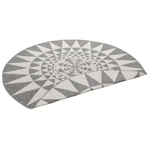 my home Teppich »Bela«, , rund, Höhe 5 mm, In- und Outdoor geeignet, Sisaloptik, grau