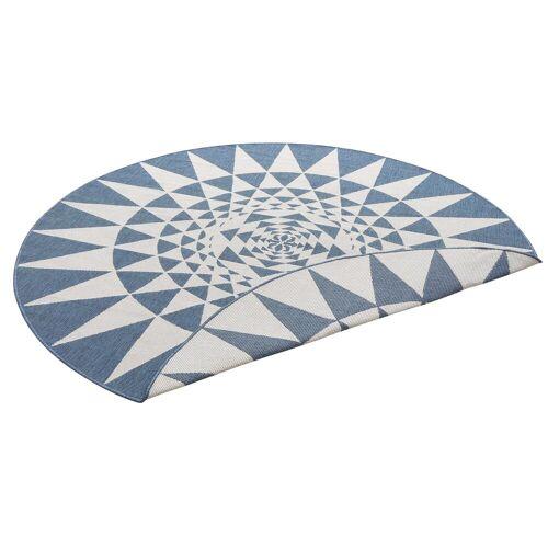 my home Teppich »Bela«, , rund, Höhe 5 mm, In- und Outdoor geeignet, Sisaloptik, blau