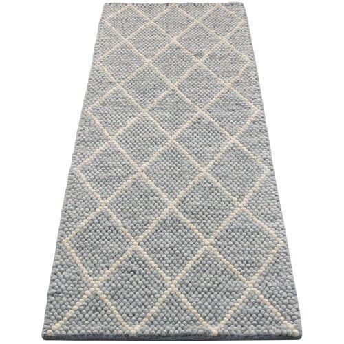 My HOME Läufer »Lior«, , rechteckig, Höhe 10 mm, Nutzschicht aus Wolle, Rauten Design, grau