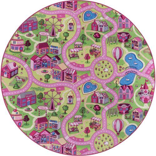 Andiamo Kinderteppich »Sweet Village«, , rund, Höhe 7 mm, Straßen-Spielteppich, Straßenbreite: 6,0 cm
