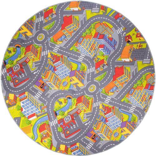 Andiamo Kinderteppich »Straße«, , rund, Höhe 5 mm, Straßen-Spielteppich, Straßenbreite: 8,5 cm