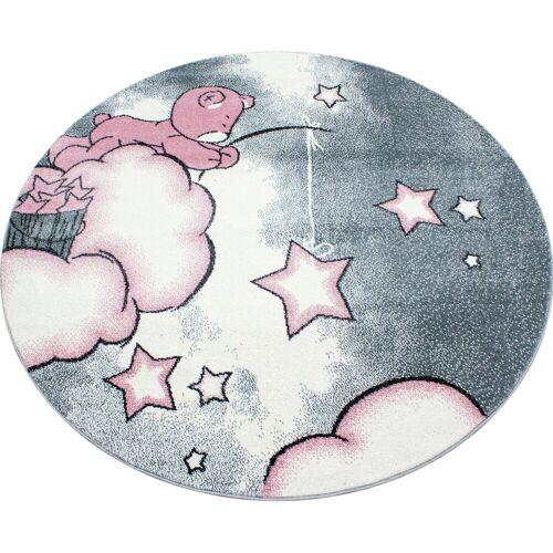 Ayyildiz Kinderteppich »Kids 580«, , rund, Höhe 12 mm, Motiv Sterne, Kurzflor, pink-grau
