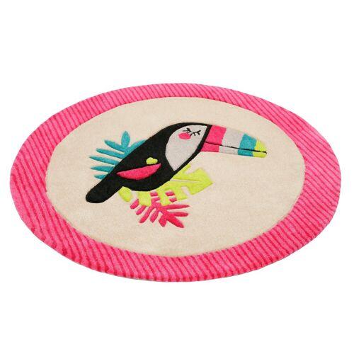 Esprit Kinderteppich »E-Toucan«, , rund, Höhe 9 mm, besonders weich, Motiv Toucan, pink