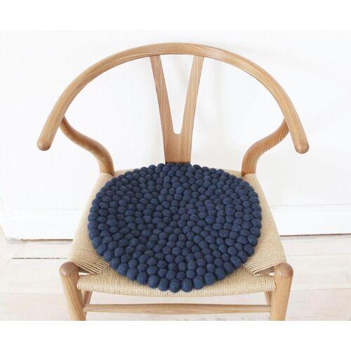 Wooldot Sitzkissen »Uni Color«, rund, Filzkugelteppich, Wolle, auch als Set bestellbar, blau