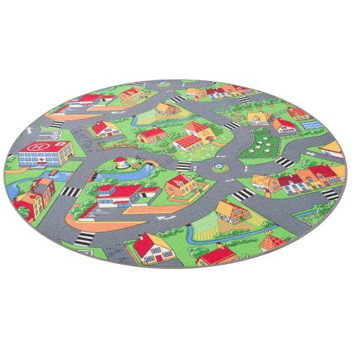 Snapstyle Kinderteppich »Kinder Spiel Teppich Little Village Rund«, , Rund, Höhe 4 mm
