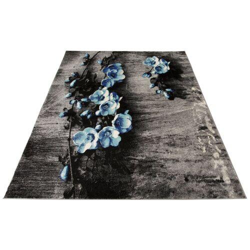 my home Teppich »Freya«, , rechteckig, Höhe 8 mm, mit Blumen Design, blau