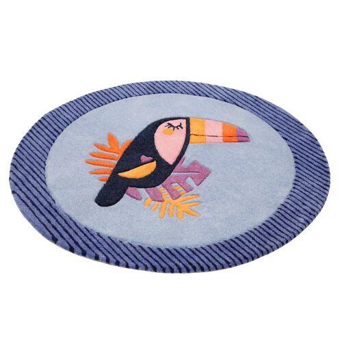 Esprit Kinderteppich »E-Toucan«, , rund, Höhe 9 mm, besonders weich, Motiv Toucan, blau