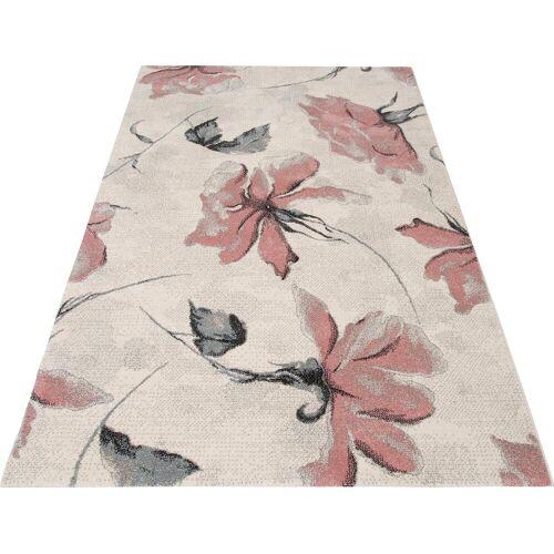 my home Teppich »Sofia«, , rechteckig, Höhe 13 mm, Blumen Design, rosé
