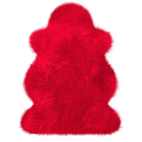 Heitmann Felle Fellteppich »Lammfell farbig«, , fellförmig, Höhe 70 mm, echtes Austral. Lammfell, rot