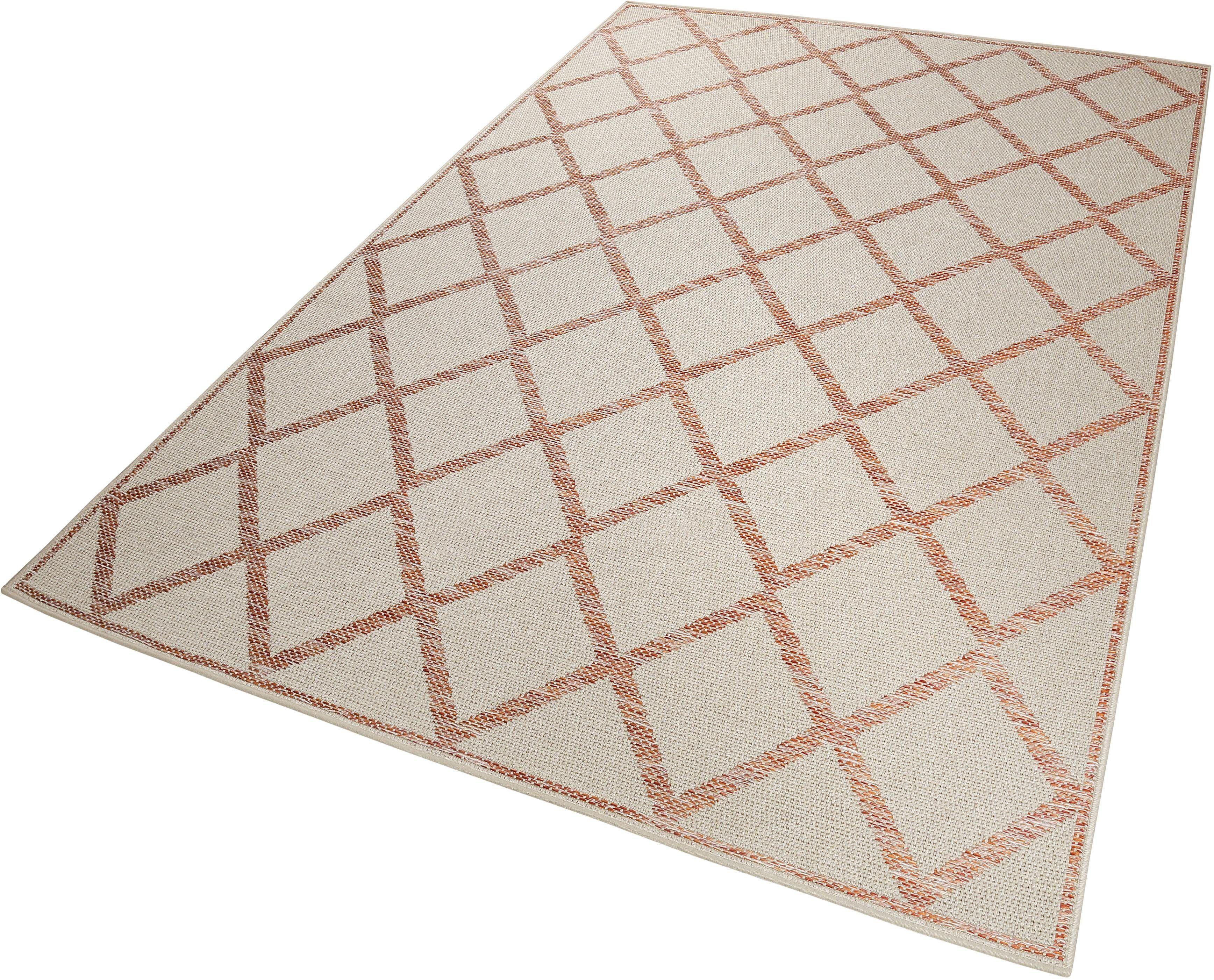 Esprit Teppich »Rhomb«, , rechteckig, Höhe 5 mm, In- und Outdoor geeignet, orange-beige