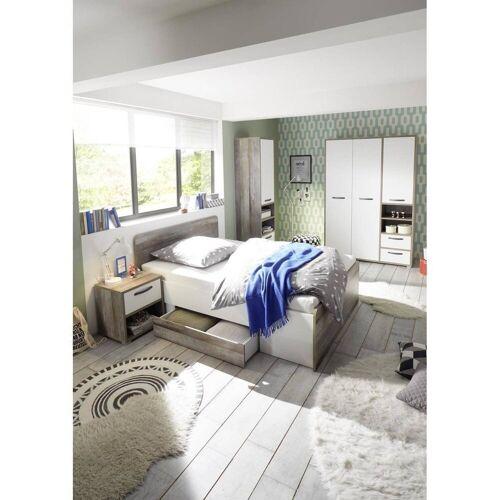 Lomadox Jugendzimmer-Set »MAUI-78«, (Spar-Set, 4-tlg), Jugendzimmer 4-tlg in Driftwood Nb. mit weiß