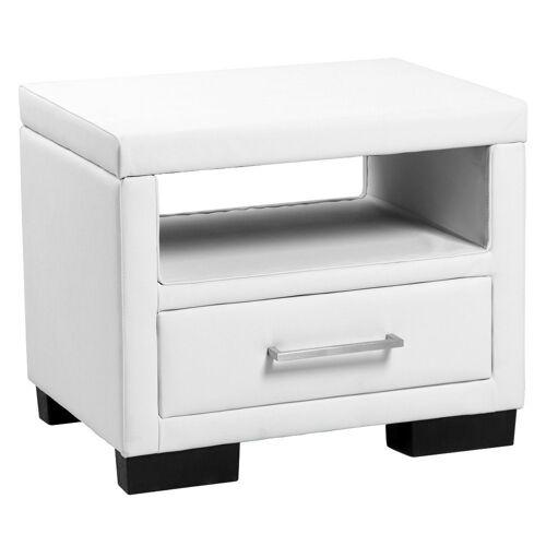 Corium Nachttisch, »Eva« mit Polsterbezug - 55cm x 40cm x 45cm [weiß], weiß