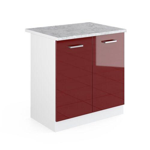Vicco Spülenunterschrank »80 cm mit Arbeitsplatte Küchenschrank Unterschrank Küchenunterschrank R-Line Küchenzeile«, Bordeaux