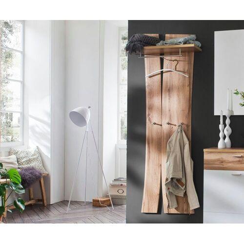 DELIFE Wandregal »Ula«, Eiche Natur 180x70 cm Massivholz Ablage mit Haken Kleiderstange