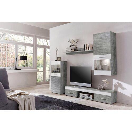 Wohnwand, (Set, 4-tlg), Holzfarben grau