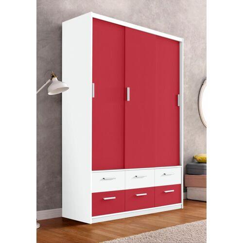 Kleiderschrank, weiß/Hochglanz rot