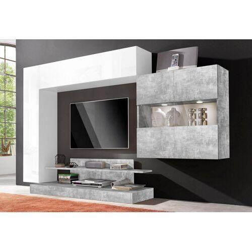 LC Wohnwand »Nice«, (Set, 4-tlg), Weiß Lack-Beton-Optik