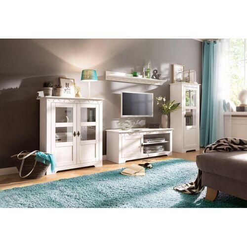 Home affaire Wohnwand »Laura«, (Set, 3-tlg), mit 1 Vitrine, 1 TV-Lowboard und 1 Highboard, weiß
